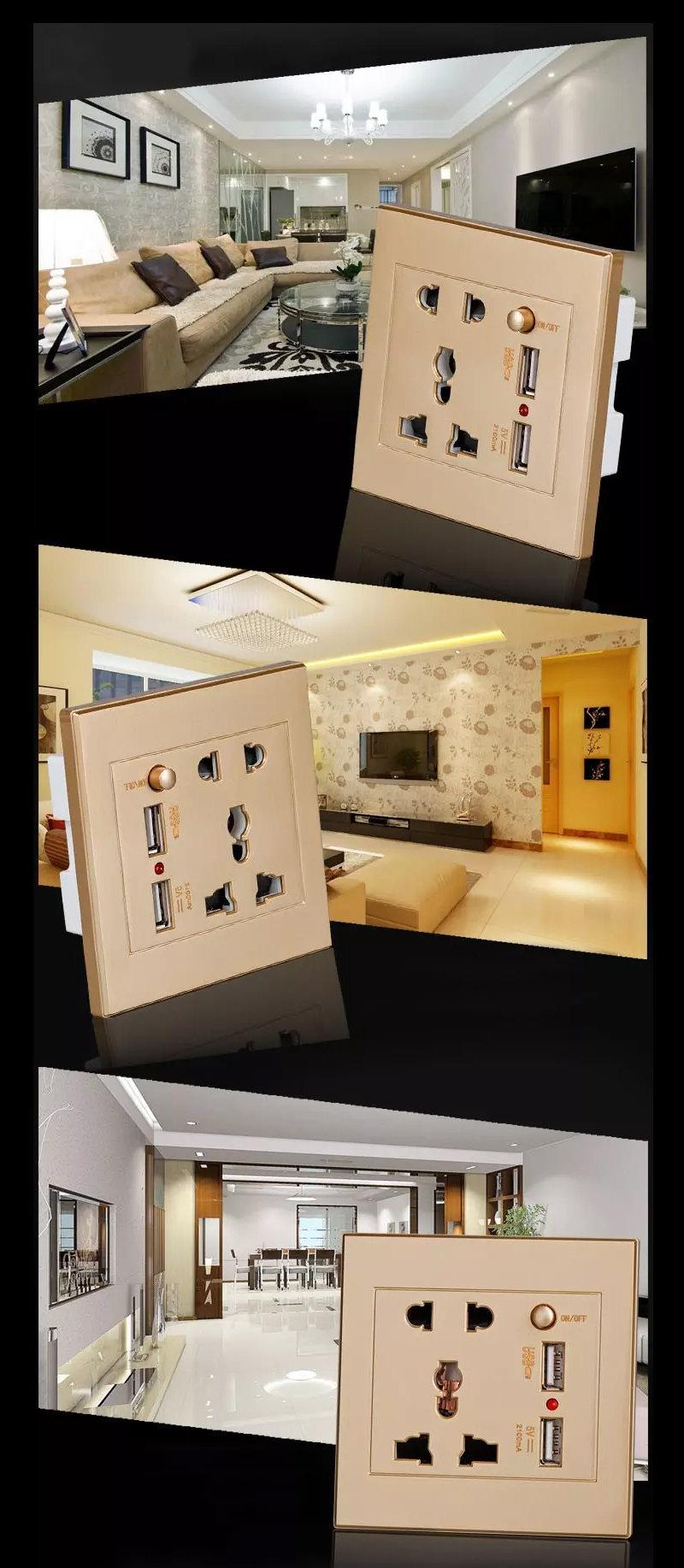 Prise électrique mural avec double port de recharge rapide USB pour les smartphones 16
