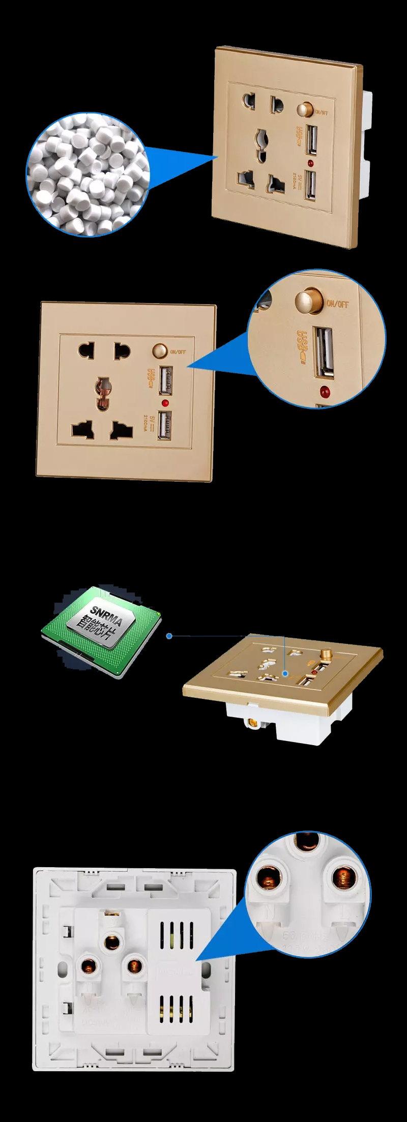 Prise électrique mural avec double port de recharge rapide USB pour les smartphones 18