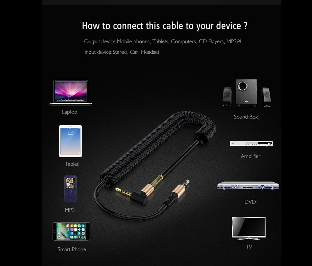 Câble flexible connecteur Jack Audio auxiliaire 3.5 mm - accessoire smartphone 112