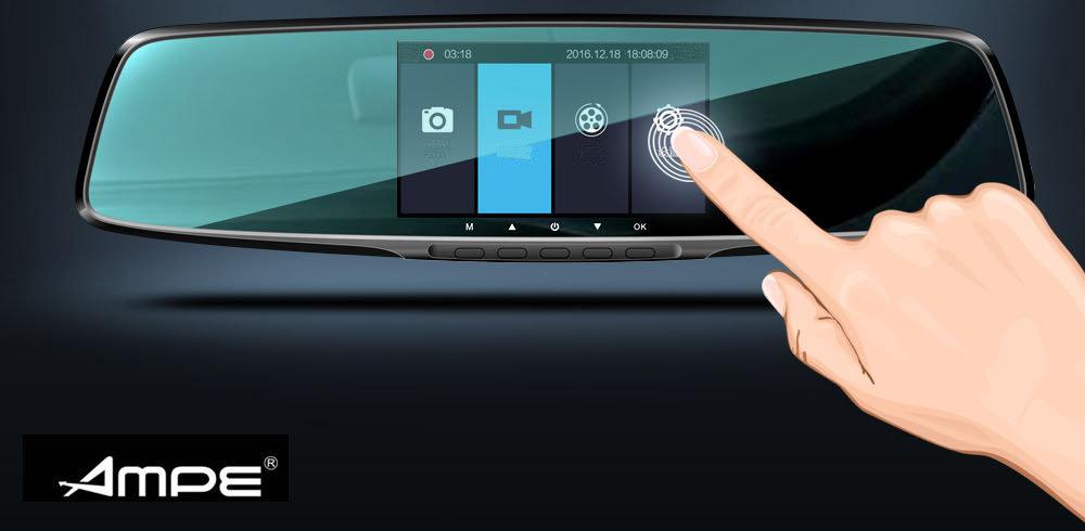 accessoire voiture - Camera embarquée Dashcam Ampe A450 Touch, avec camera arrière