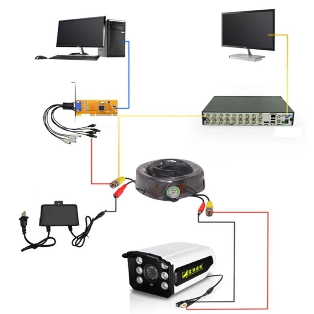 50M CCTV caméra DVR enregistreur vidéo Câble12