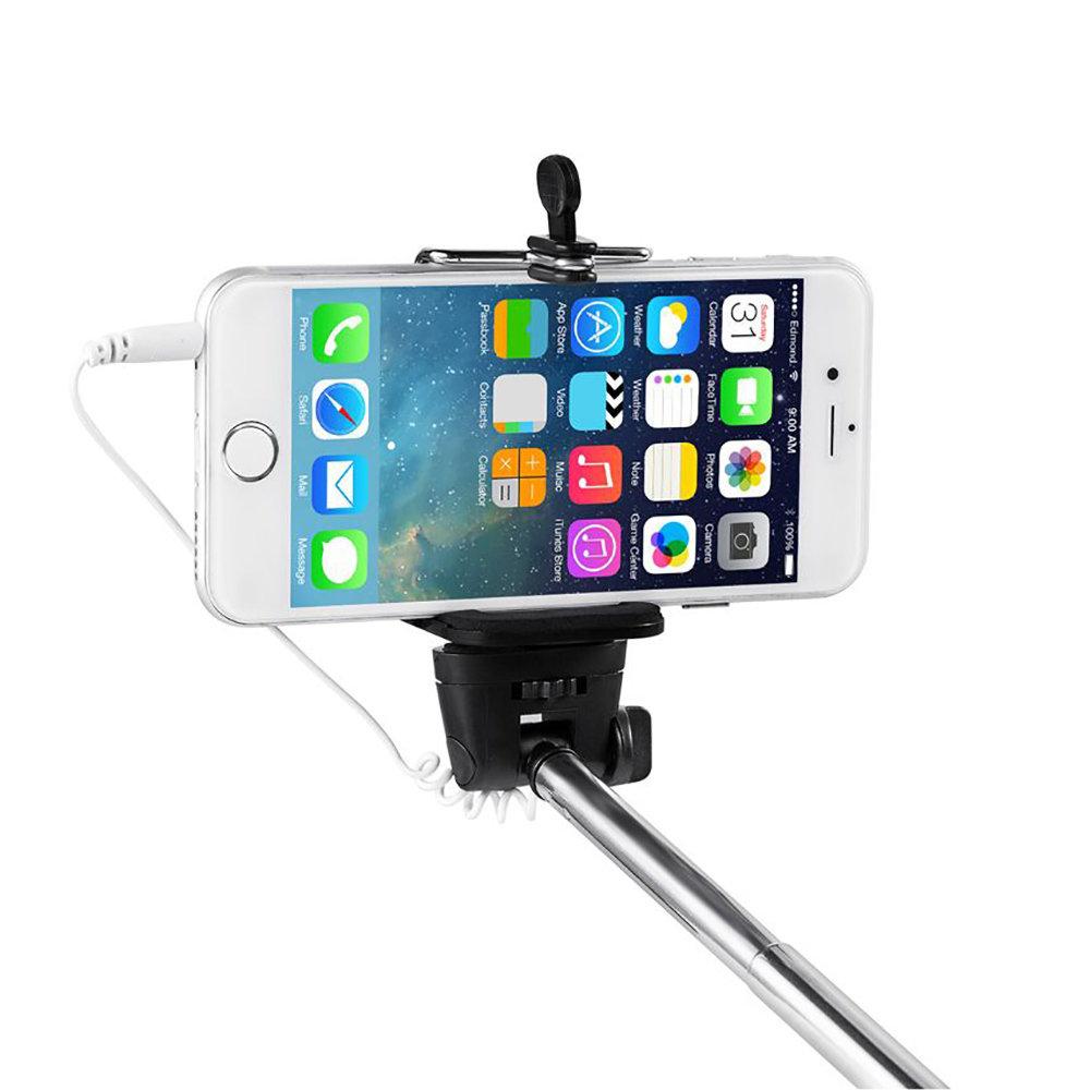 Monopode Selfie avec déclencheur bouton intégré et fil pour smartphone 11