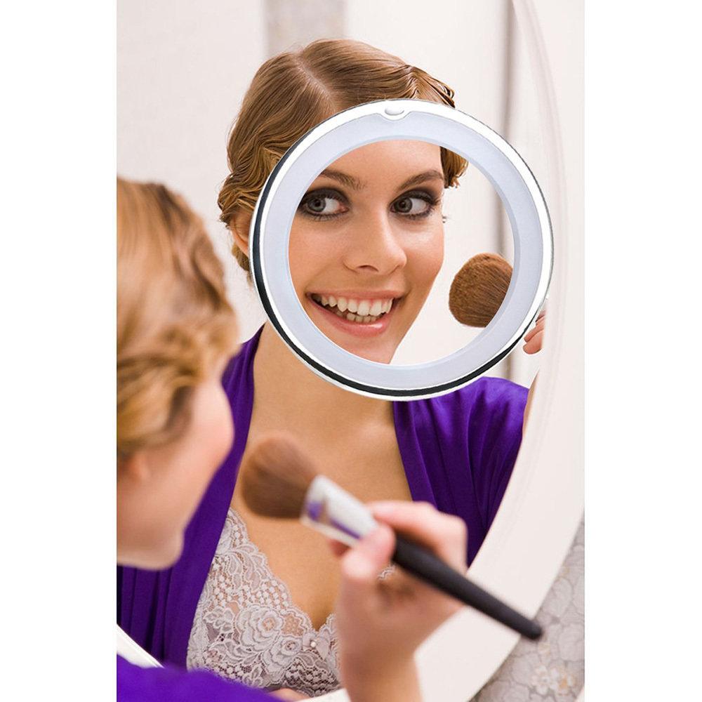 Miroir de maquillage LED 7X avec base d'aspiration pour le maquillage, rasage 11