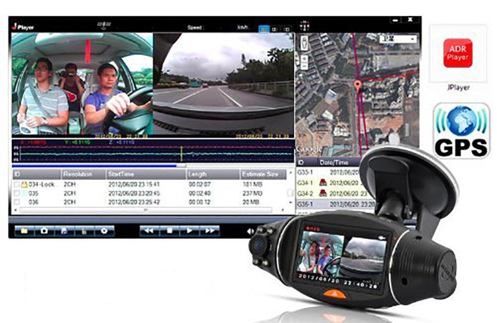 """Voiture DVR doubles Caméra 270 Degrés 2.7 """"Écran Infrarouge avec GPS Logger et Capteur de gravité 12"""