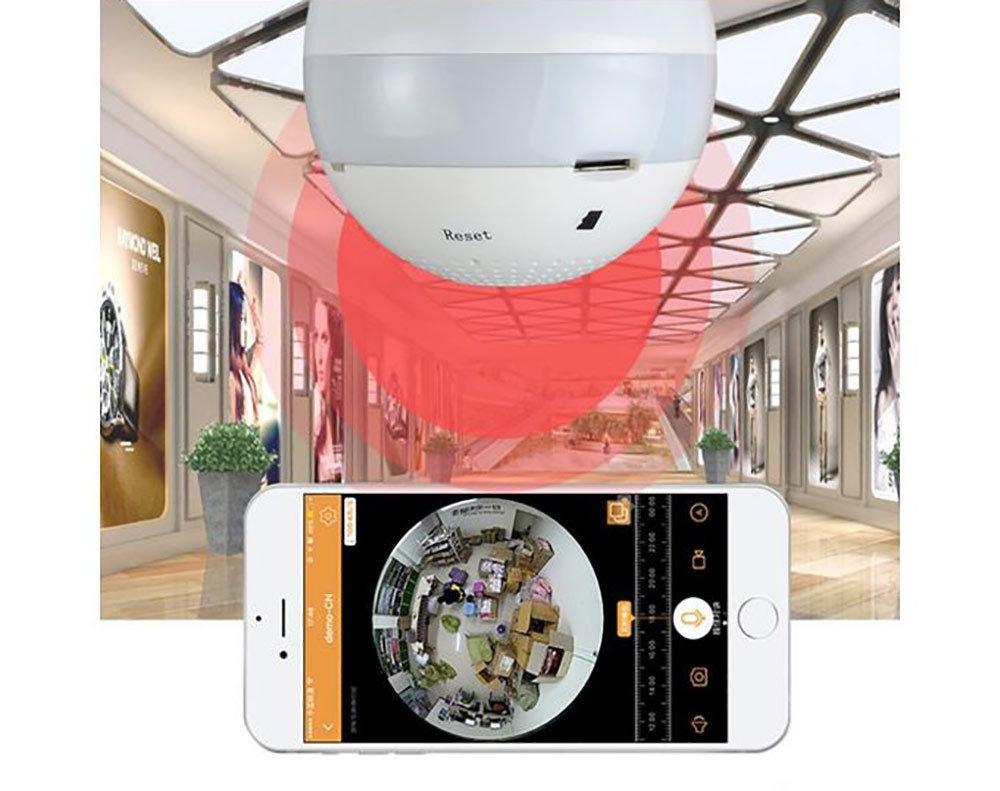 Caméra ampoule WiFi HD panoramique 360° avec Gestion à distance - carte SD sans DVR 12