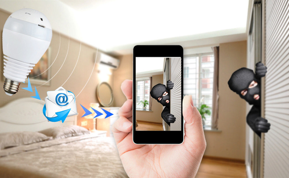 Caméra ampoule WiFi HD panoramique 360° avec Gestion à distance - carte SD sans DVR 13