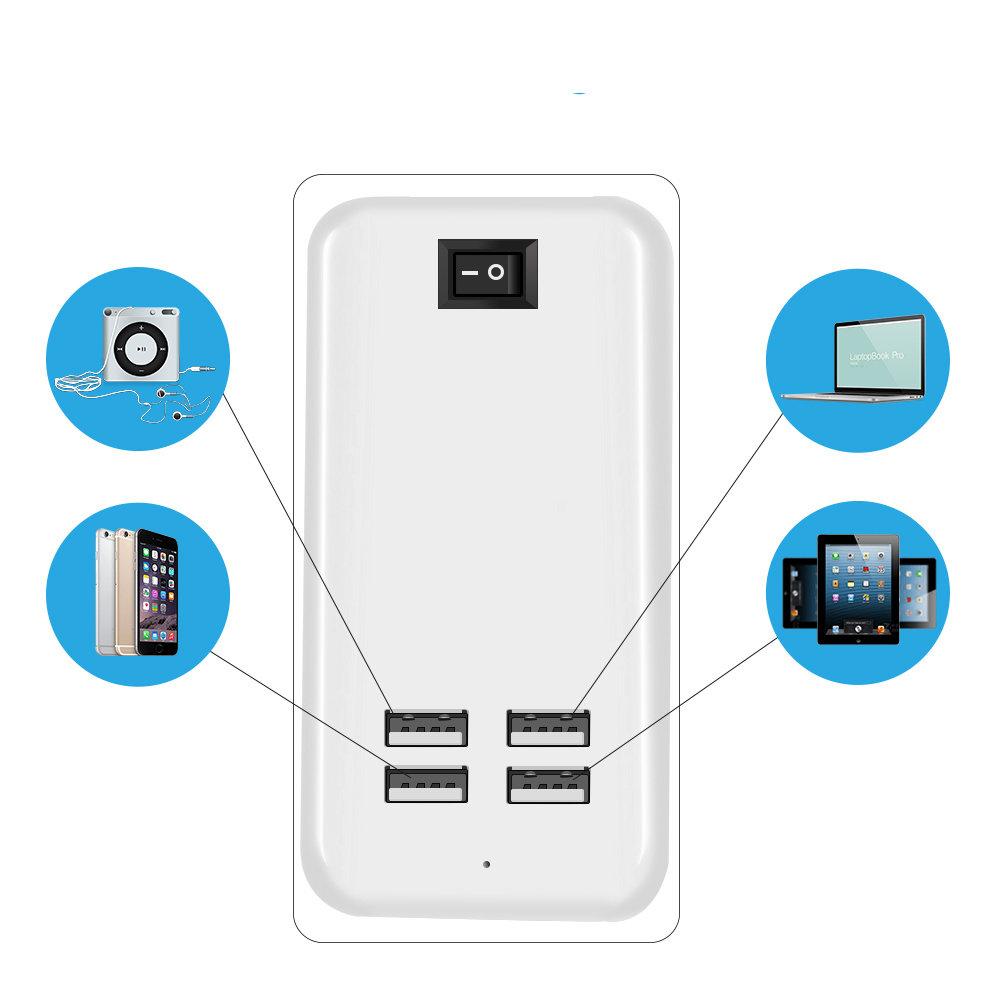 Chargeur de bureau AC adaptateur secteur avec 1.5m ligne 4 ports USB 11