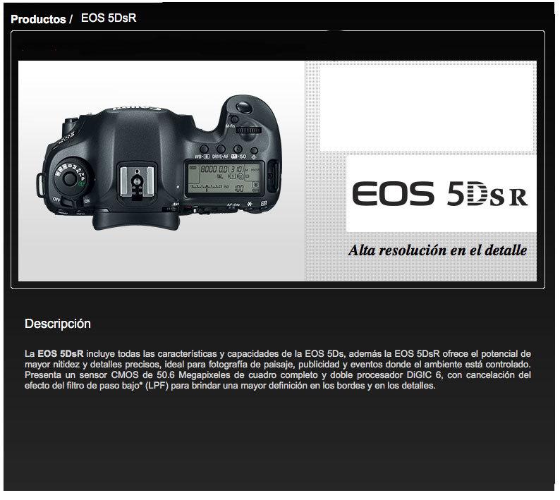 CANON: Camara EOS 5DSR (cuerpo) A $73,799.00 VALIDO HASTA 30 ABRIL ...