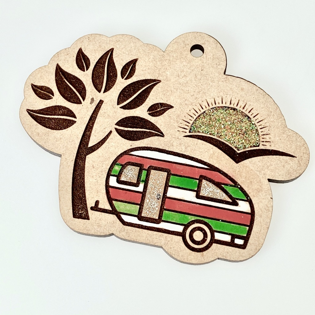 Camper Ornament Painted with Nail Polish