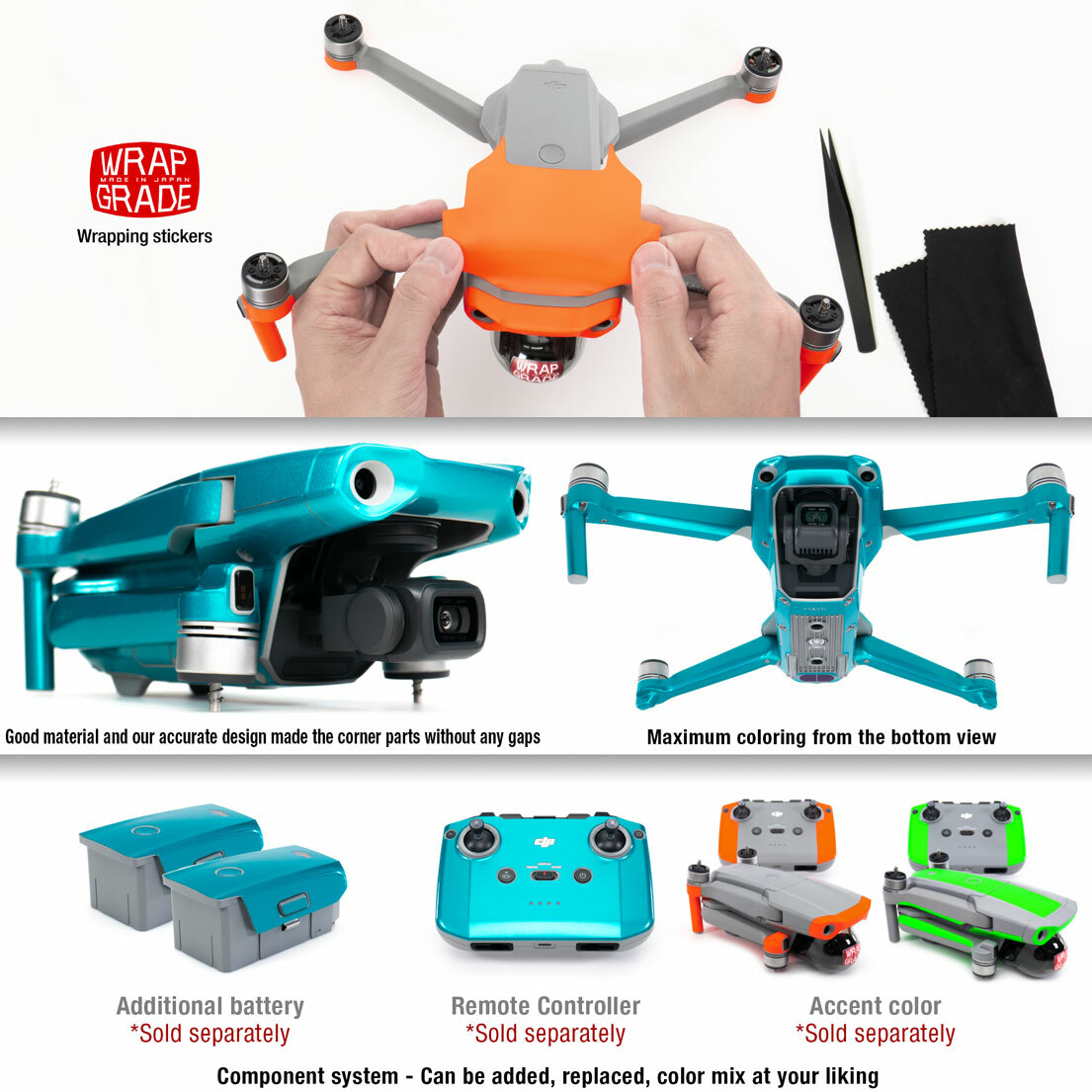 Stratosphere Blue Remote Controller Wrapgrade Poly Skin Compatible with DJI Mavic 2