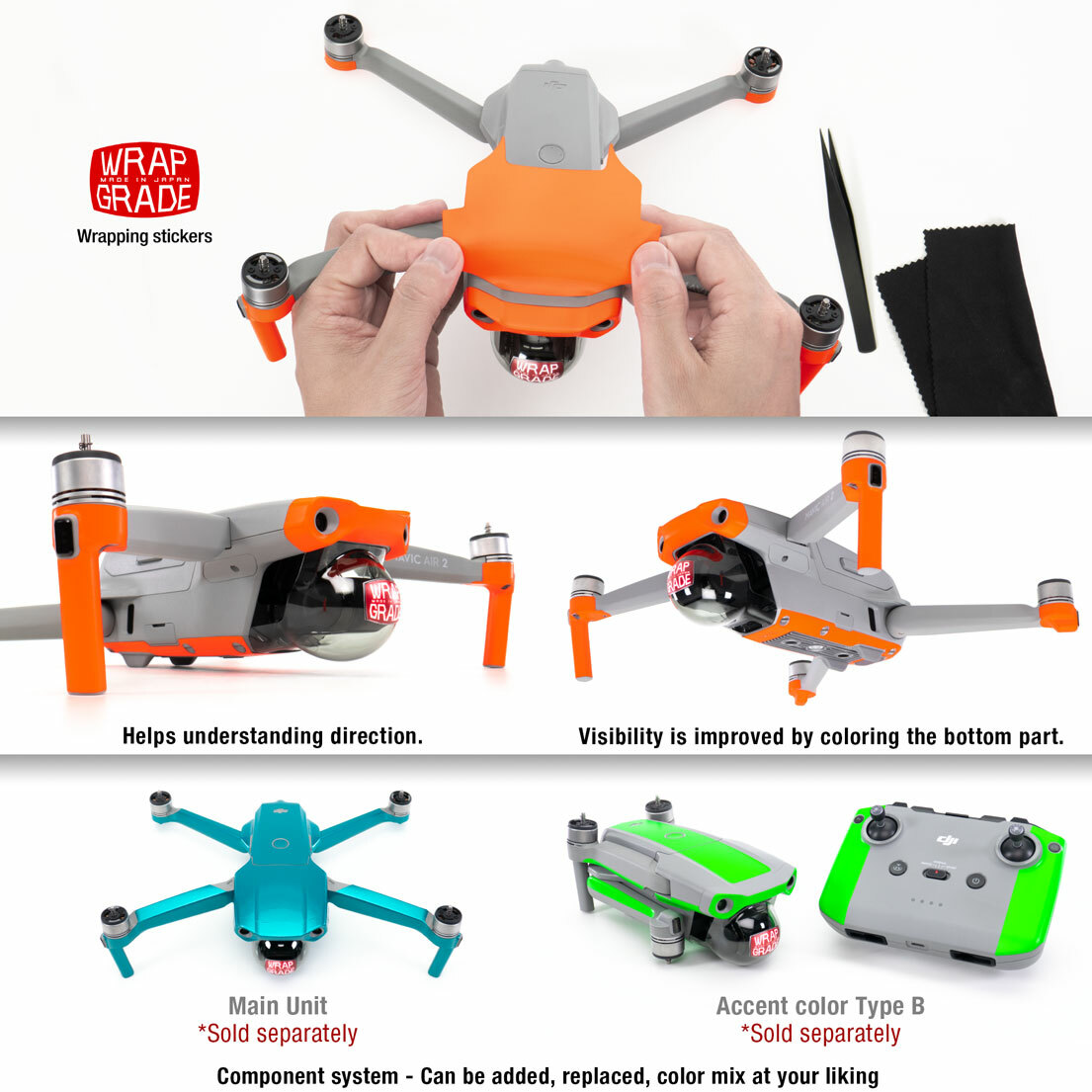 Accent Color WRAPGRADE Poly Skin Compatible with DJI Mavic 2 Stratosphere Blue