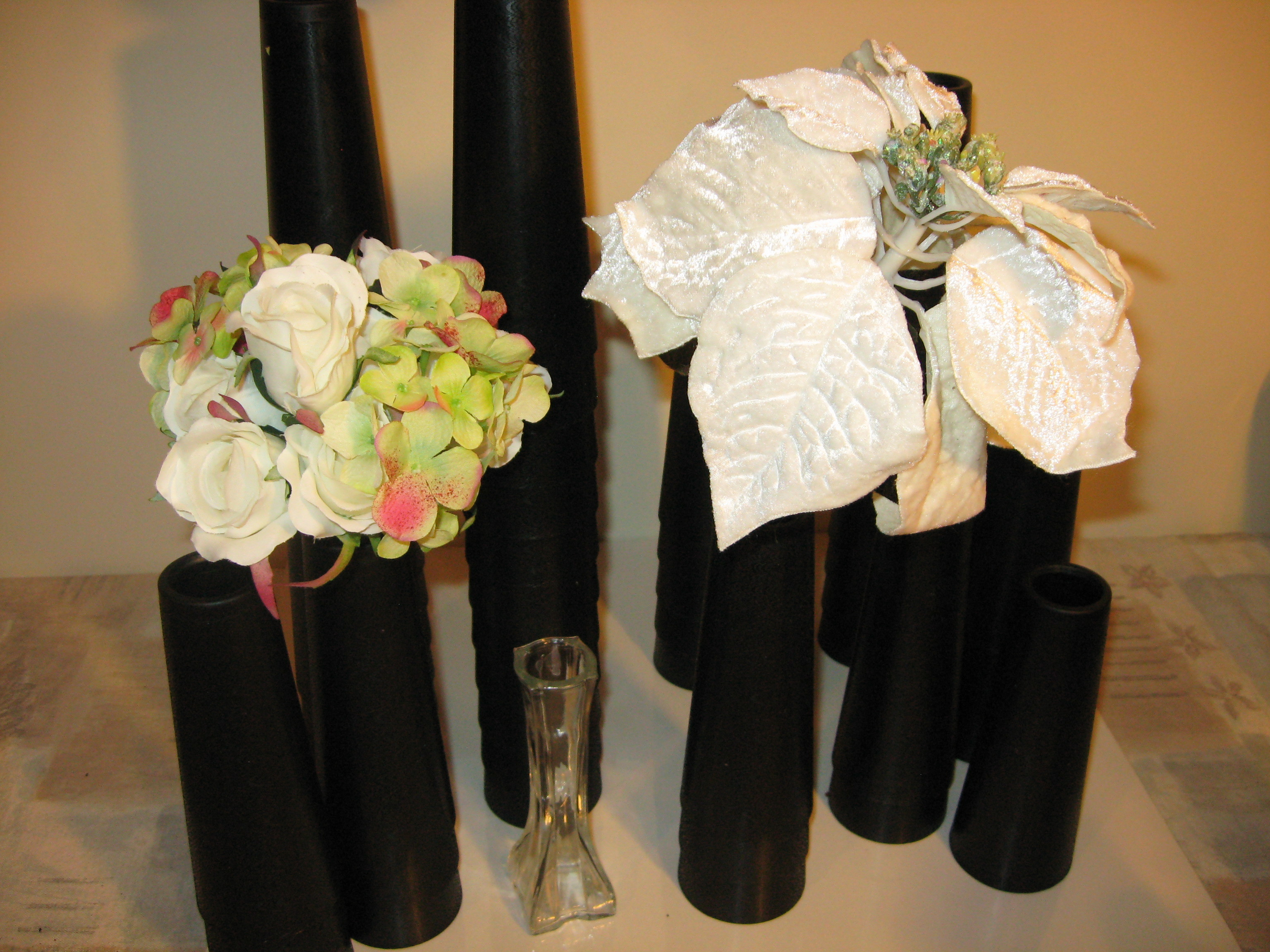 Black Cone Vases shown with white silk flowers