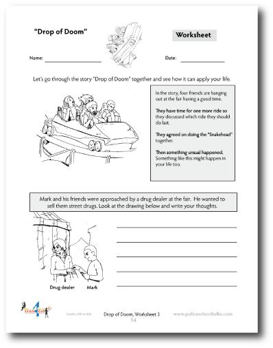 Worksheets for elementary Grades on Drugs