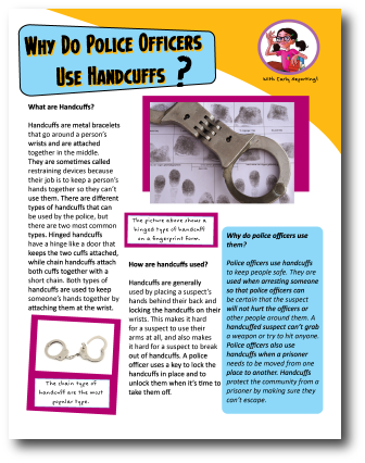 Article for kids on Police Handcuffs
