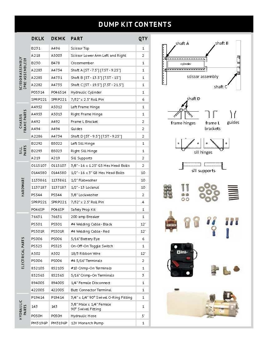 Dump Bed Kit Parts