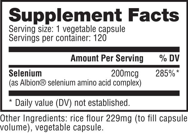 Nutrabio Selenium Facts