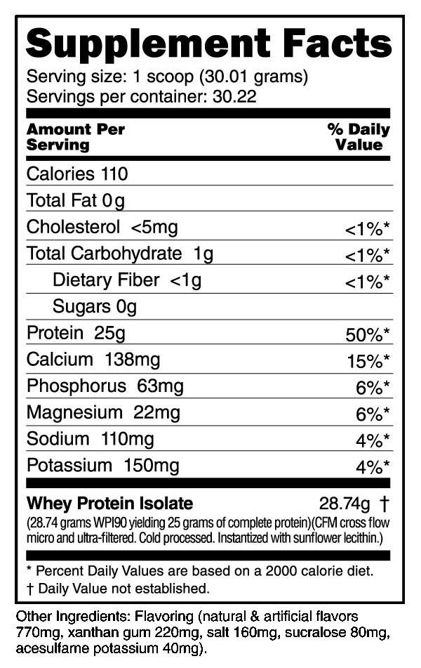 Nutrabio Whey Protein Isolate - Bourbon Banana Nut Facts