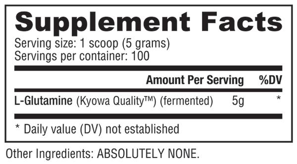 Nutrabio Glutamine 500G Facts