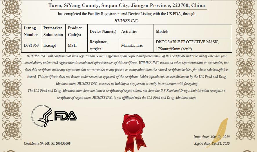 certificado fda mascarillas quirurgicas