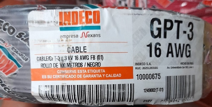 CABLE AUTOMOTRIZ INDECO