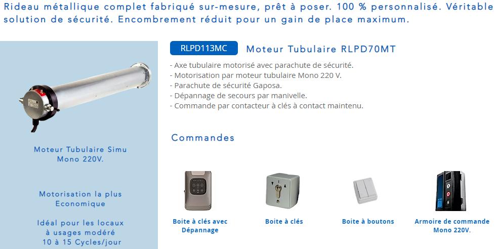 Moteur tubulaire simu ou Gaposa  pour rideau métallique avec boite à clés, boite à boutons et armoire de commande