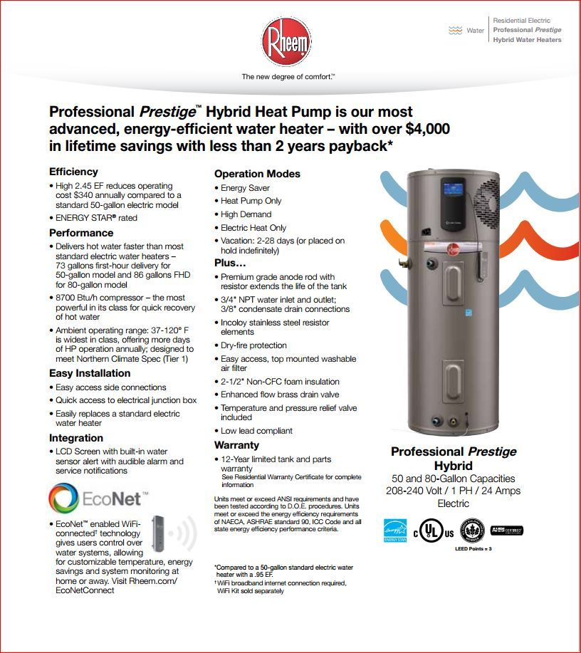 Rheem water heater electrical hookup