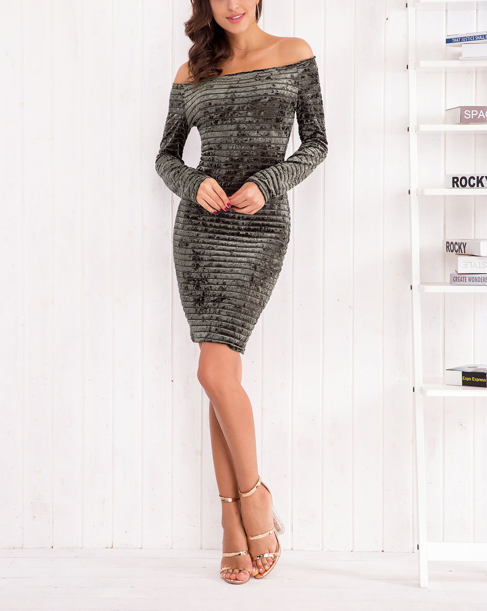 Off-Shoulder Bodycon Sheath Dress with Long Sleeves