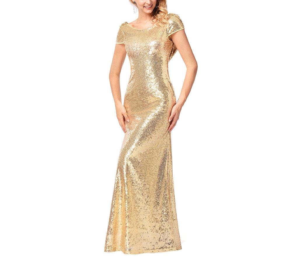 Backless Gold Sequin Evening Dress
