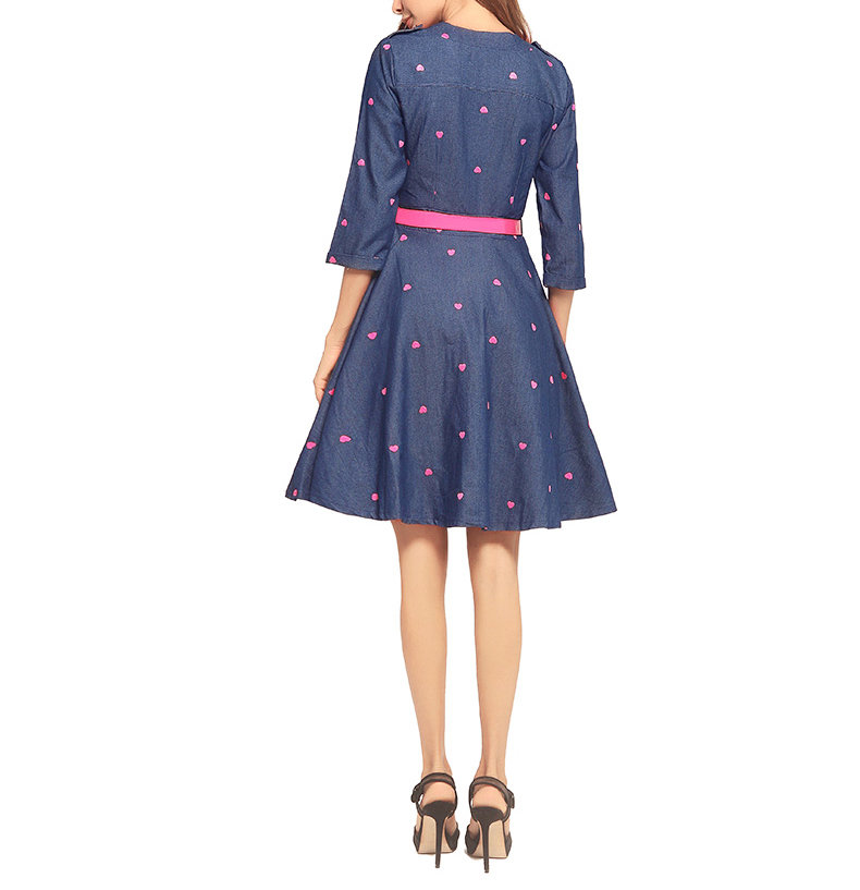 Denim Wrap Dress with Circle Skirt and Embroidery