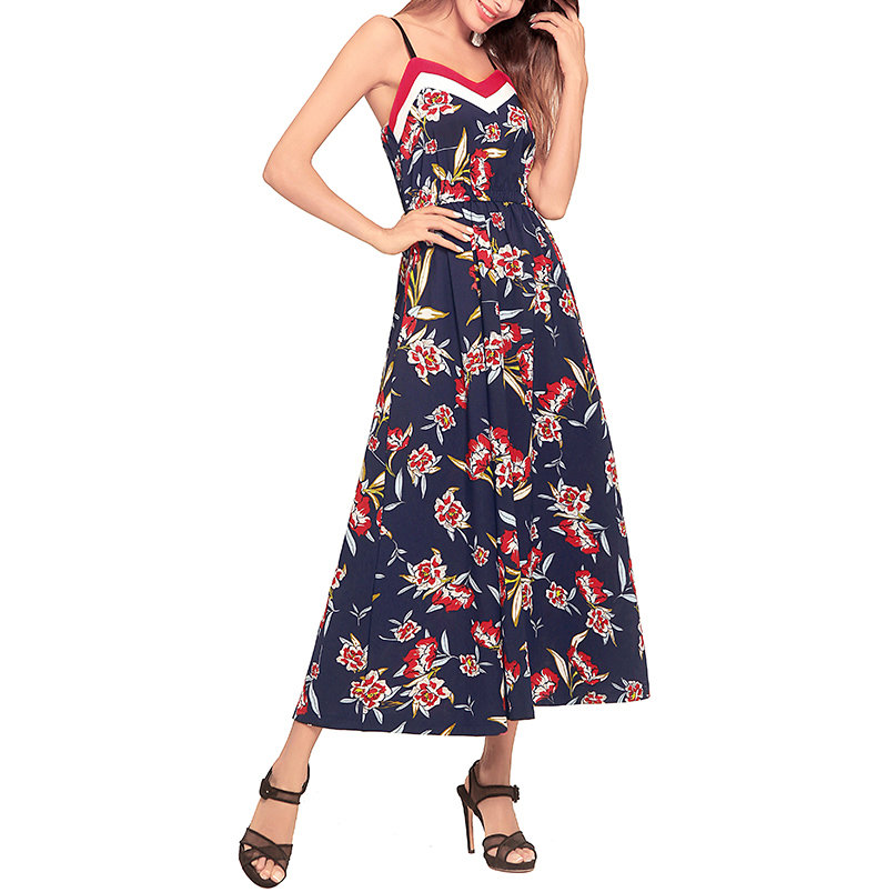 Ankle-Length Floral Dress with Contrast Trim