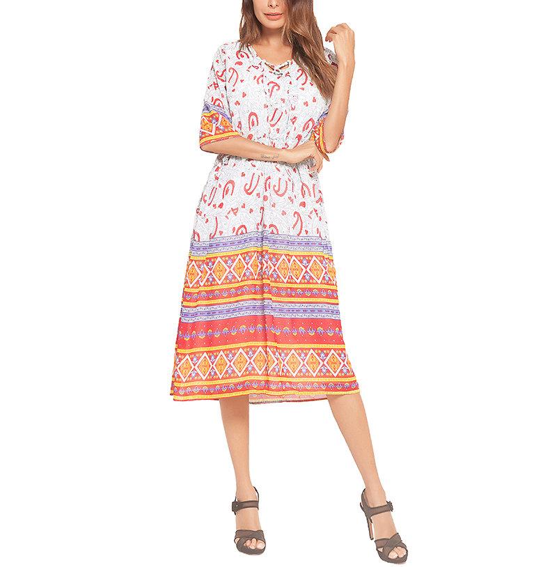 Boho Peasant Dress in Colorful Border Print