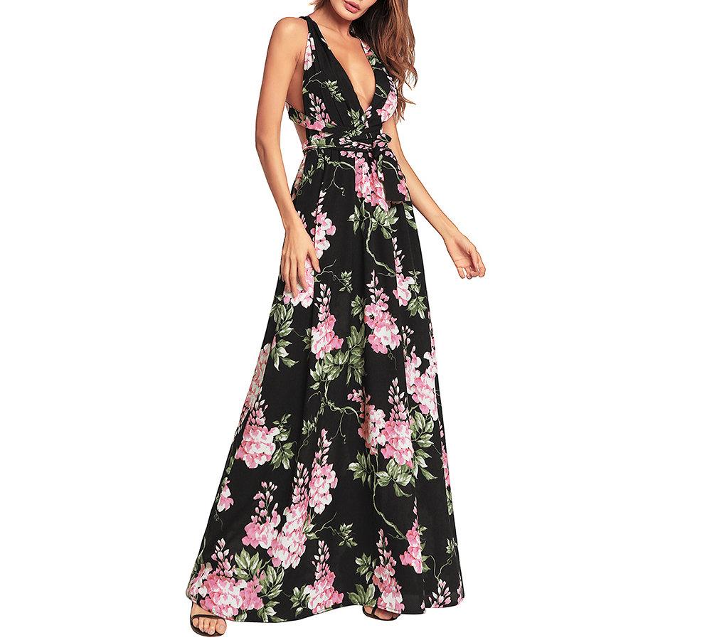 Black Floral Dress with Deep Plunge Neckline
