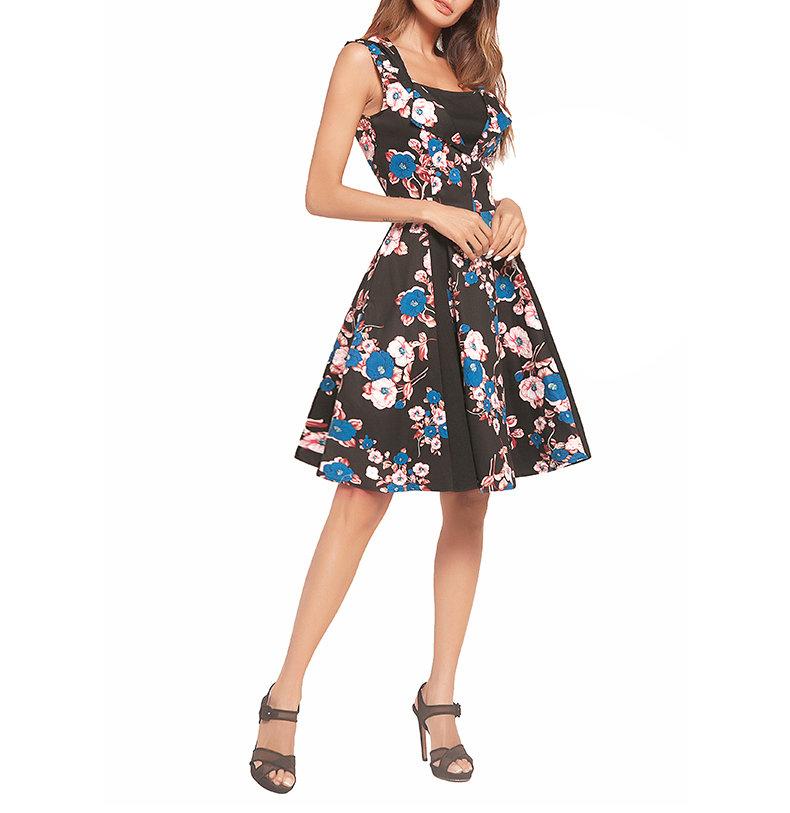 Sleeveless Short Dress with Lapels and Full Skirt