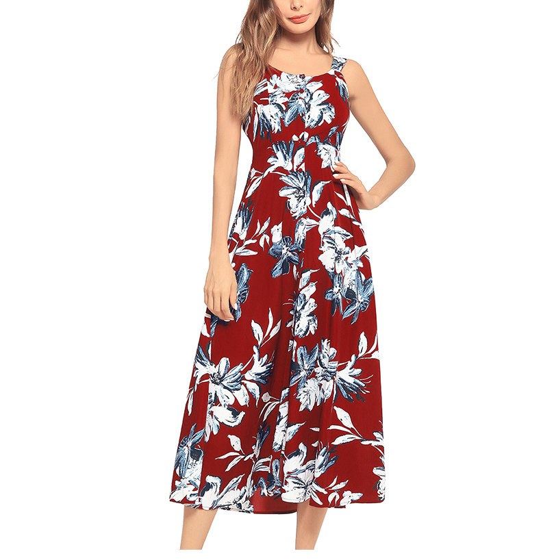 Floral Dress with Gathered and Tied Back