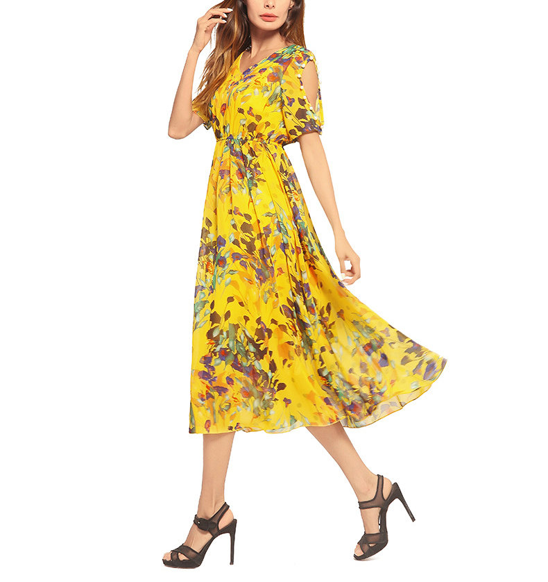 Chiffon Floral Dress with Cutout Sleeves