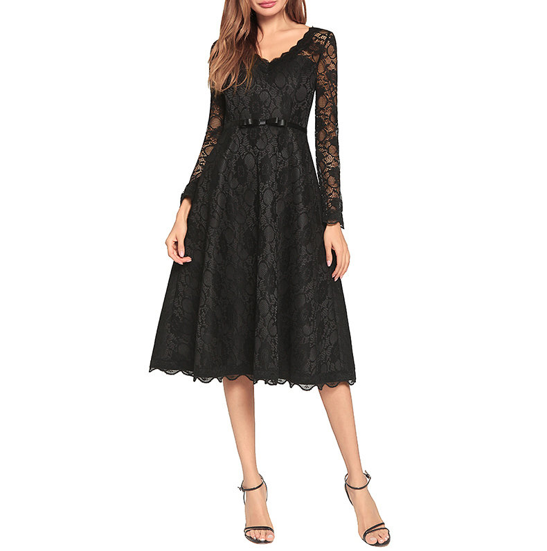Elegant Lace Dress with Long Sleeves