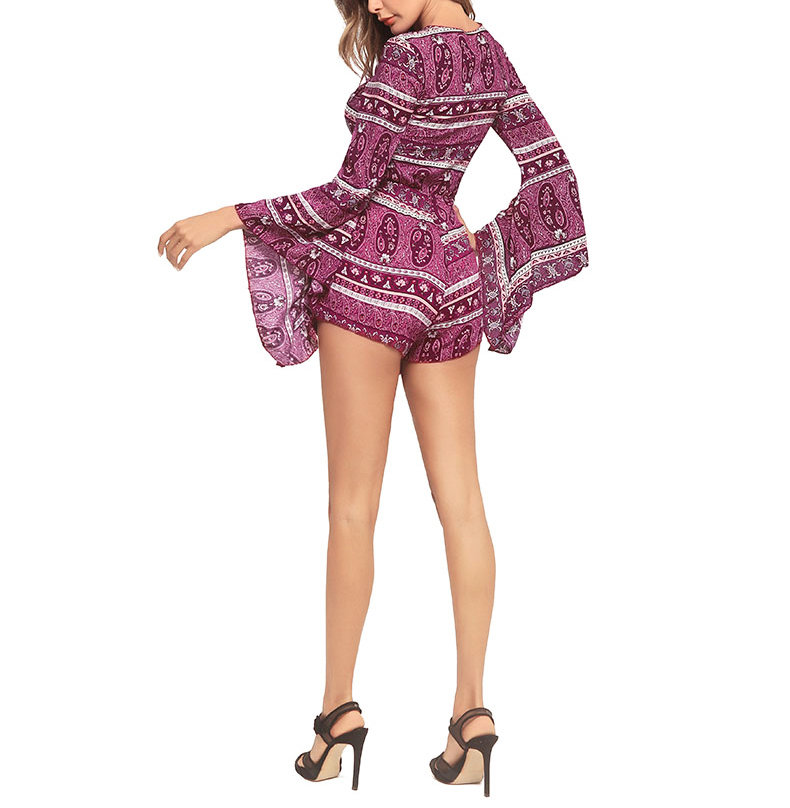Boho Pant Dress with Trumpet Sleeves