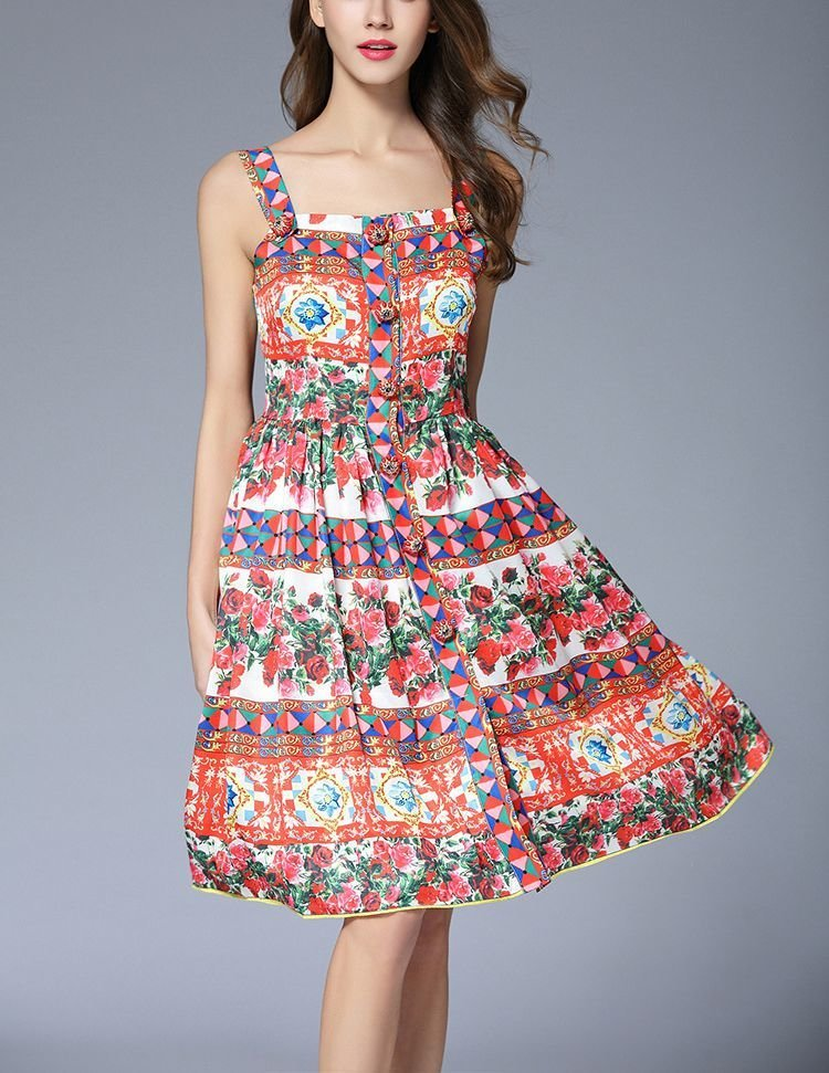 Boho Print Casual Dress with Bold Buttons