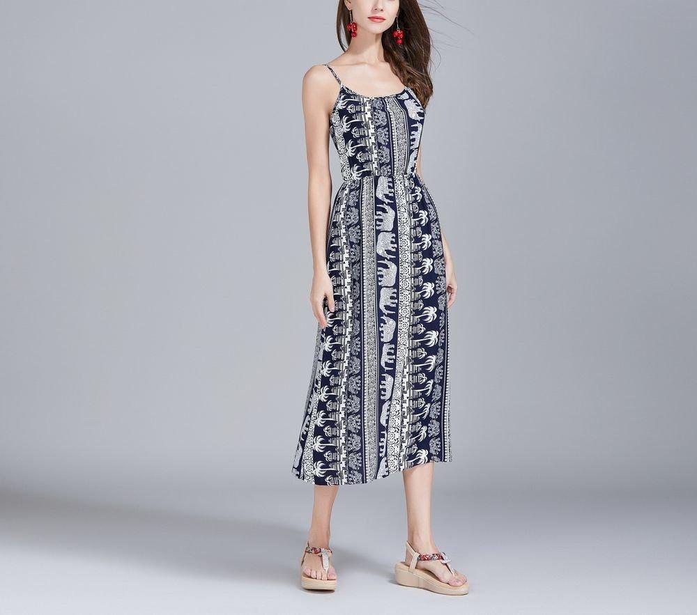 Bold Print Casual Dress with Elastic Waist