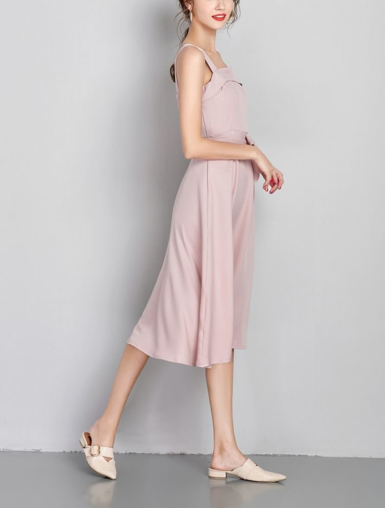 Formal Dress with Top Cuff and Bow at Waist
