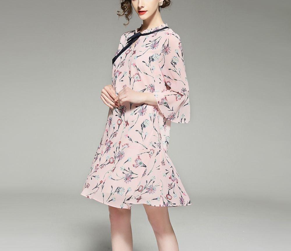 Oriental Floral Chiffon Cocktail Dress