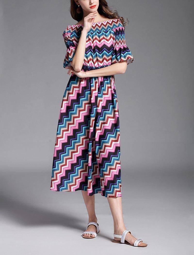 Chevron Print Casual Dress