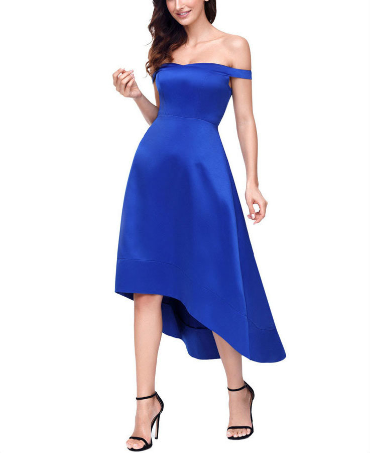 Off-Shoulder Fitted Formal Dress with Shaped Hemline