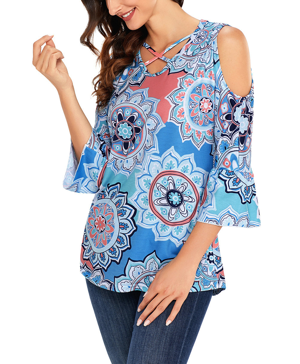 Large Size Mod Print Top with Ruffled ¾ Sleeves