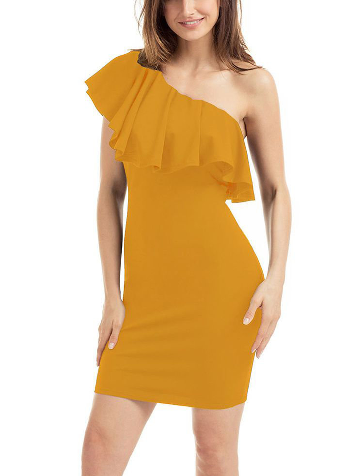 One Shoulder Bodycon Club Dress in Large Sizes