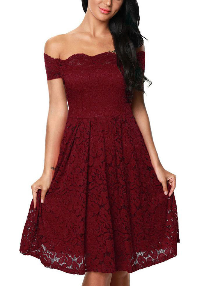 Lace Formal Dress with Scalloped Neckline