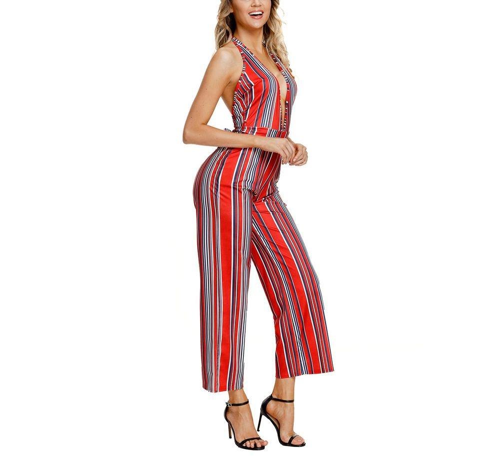 Deep Plunge Striped Overalls Jumpsuit