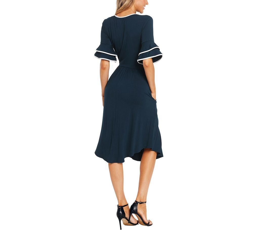 Feminine Work Dress with Contrast Top