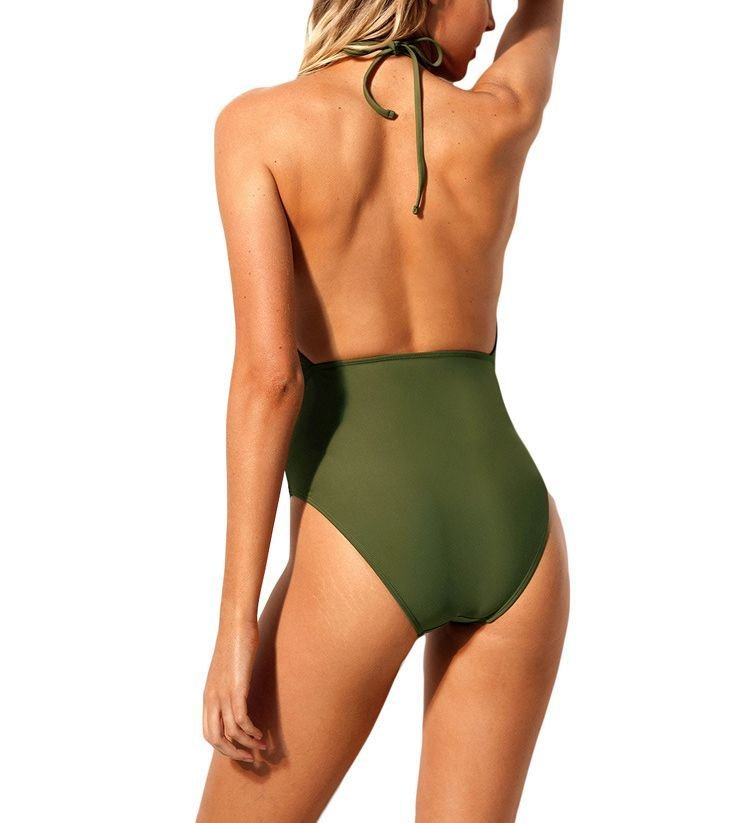 One-Piece Swimsuit with Lattice Front