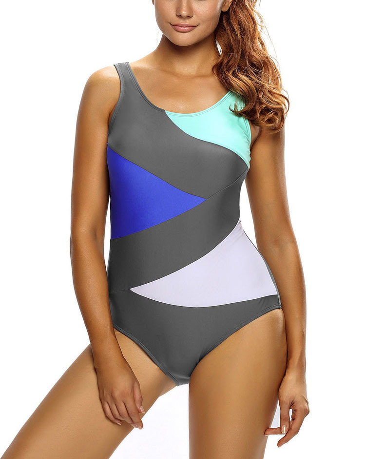 Color Blocked Tank Swimsuit with Back Lacing